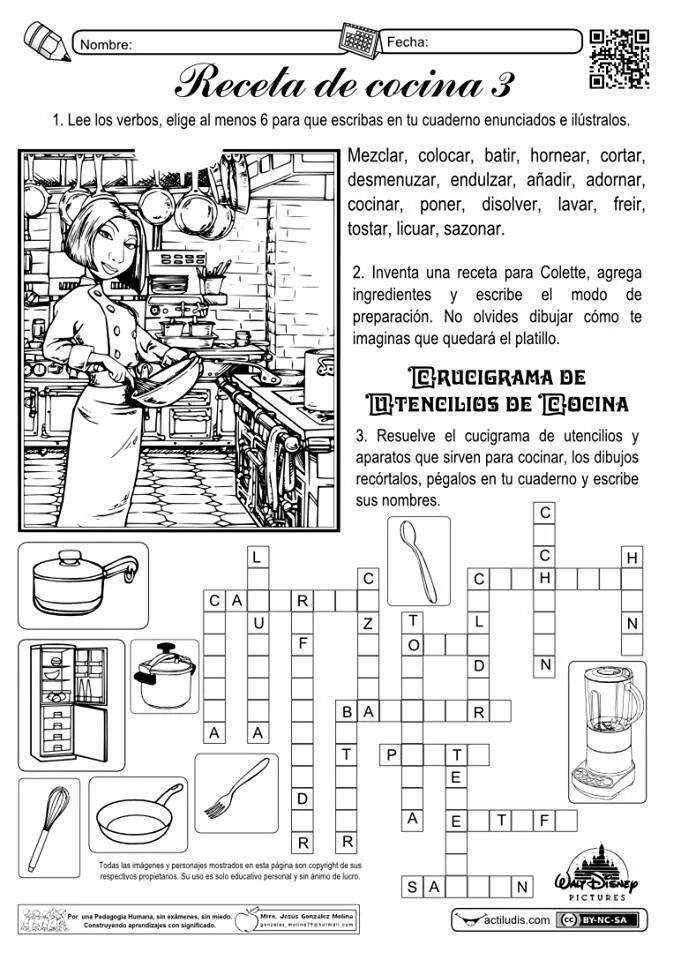 Juegos De Cocinar En Español | Sopa De Letras Receta De Cocina Juegos Giochi Pinterest