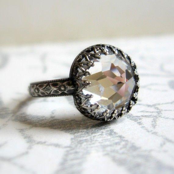 The Original Rose cut crystal Crown Ring by jorgensenstudio, $54.00