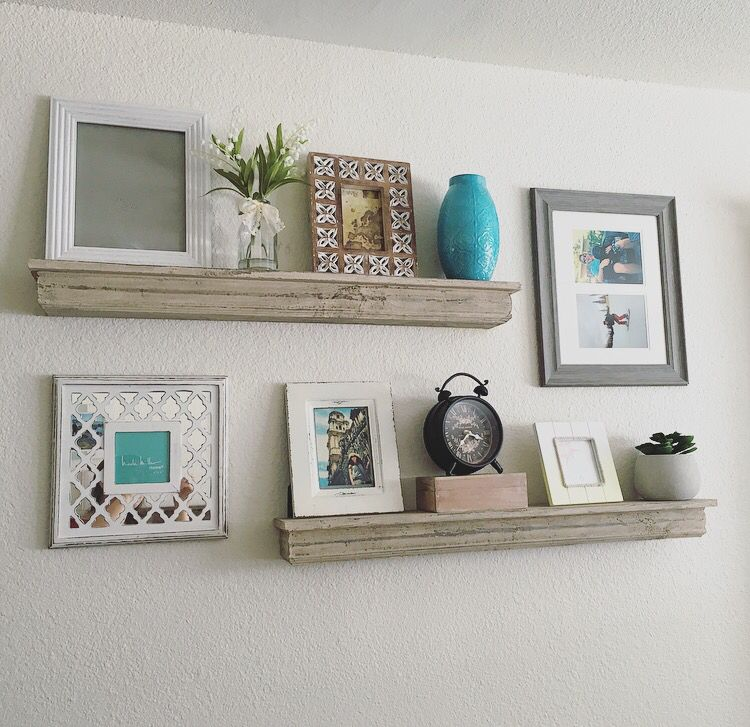 Floating shelves my pins pinterest shelves shelving and living rooms - Living room wall shelf ...