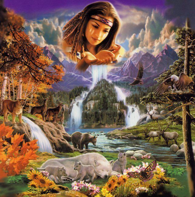 Cherokee First Woman's themes are spirituality, Universal Truth, unity, cleansing and abundance. Her symbols are all animals and plants.
