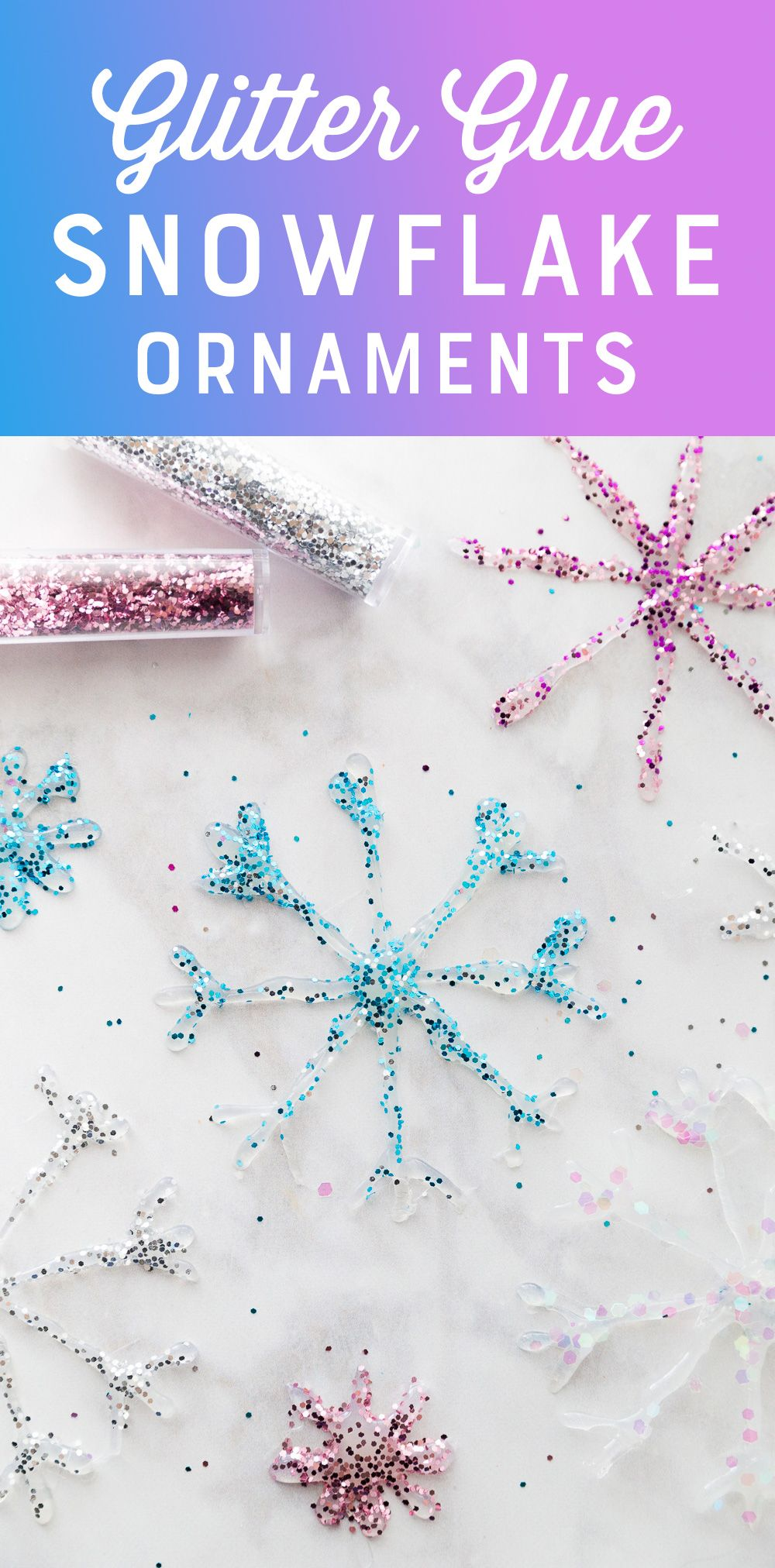 Diy Glitter Glue Snowflake Ornaments Hot Glue Window Clings Recipe Snowflake Ornaments Diy Christmas Snowflakes Crafts Diy Christmas Snowflakes