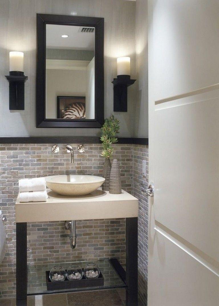 65 Elegant Modern Guest Bathroom Bathroom Ideas Bathroom Bathroomideas Bathroomdesign Small Small Half Bathrooms Guest Bathroom Small Home Depot Bathroom