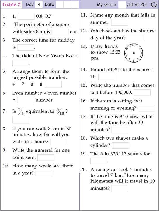 Mental Math Grade 5 Day 4 Mental Math First Grade Math Worksheets Kids Math Worksheets Mental Maths Worksheets