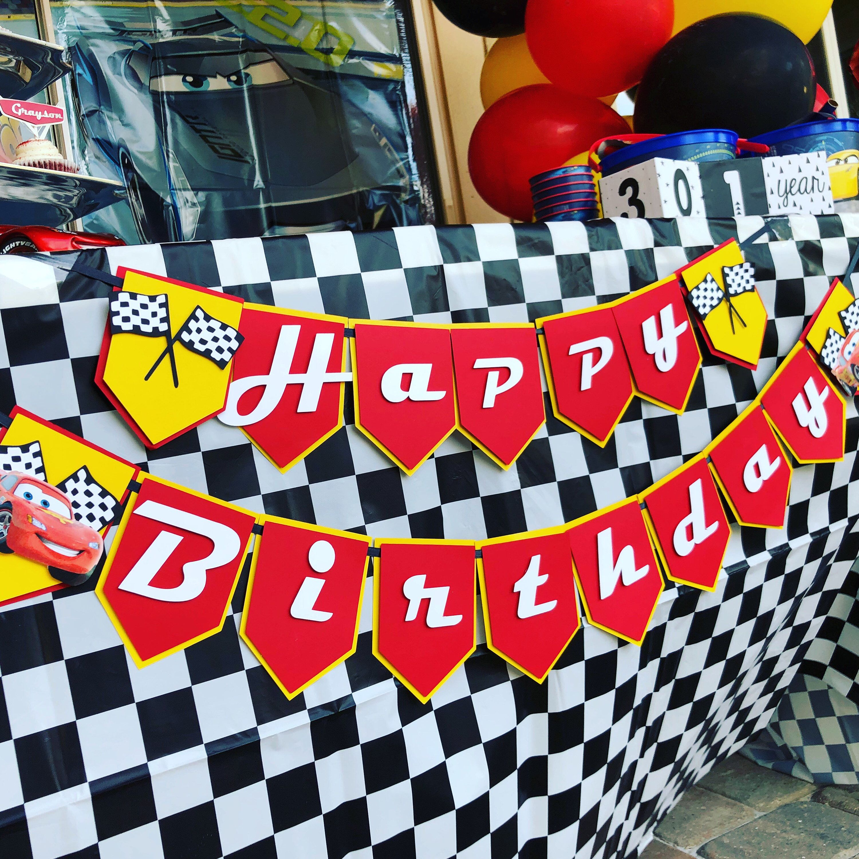 Cars Birthday Banner/ Disney Cars inspired Birthday Banner | Etsy