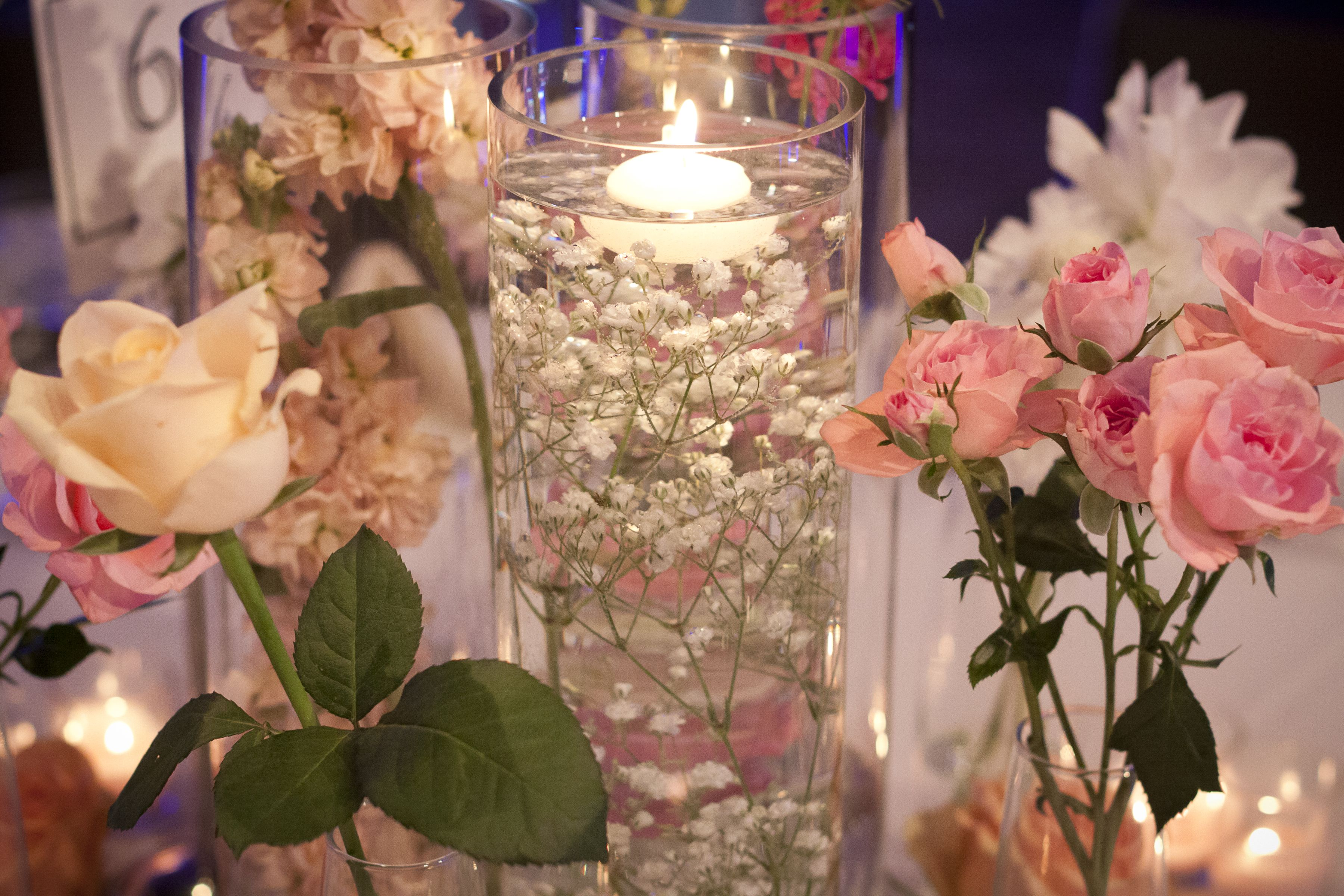 Babiesbreath And Blue Baby Rose Centerpieces - Submerged Babys Breath