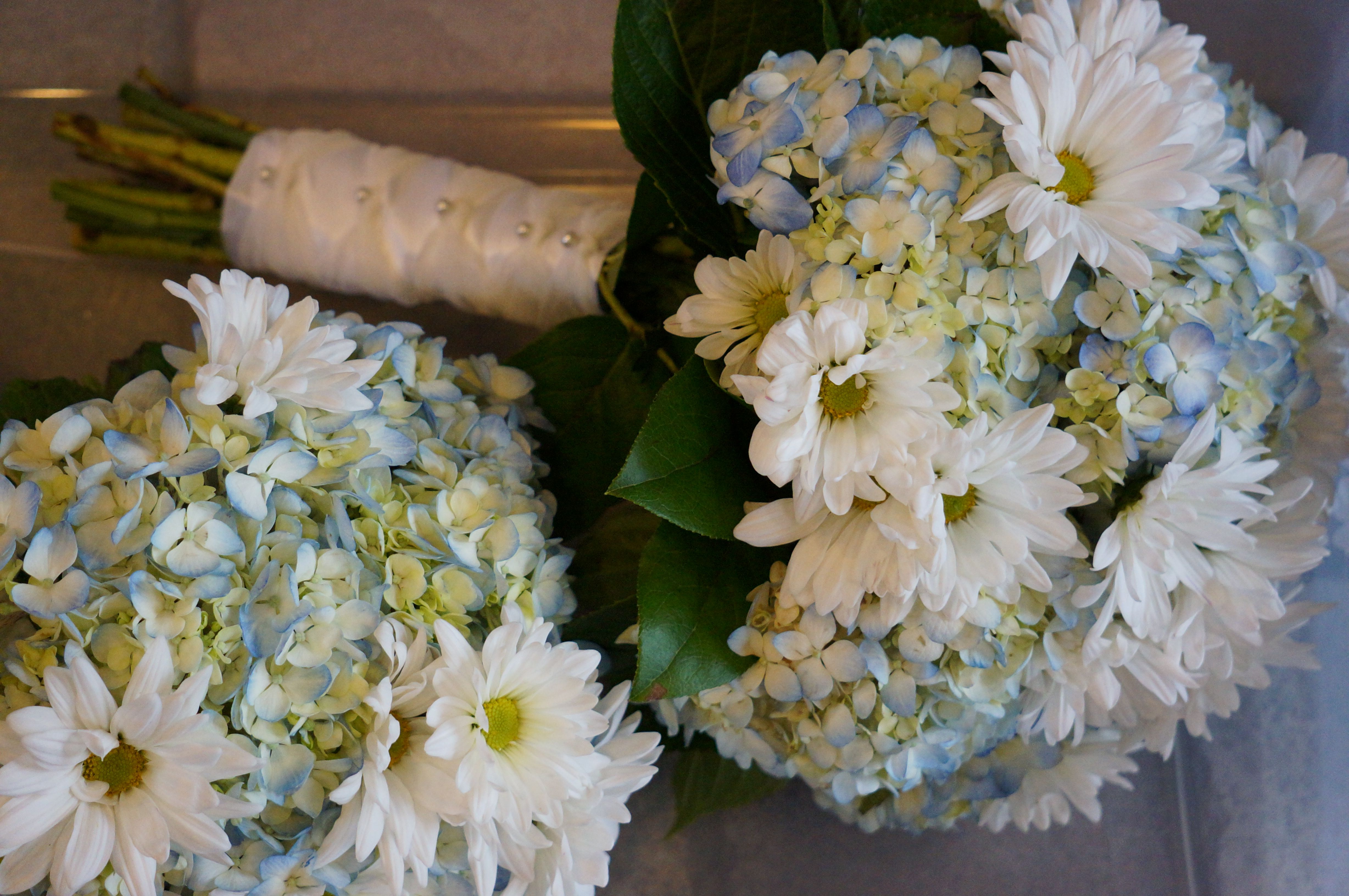 Blue Hydrangea And White Daisy Bouquet