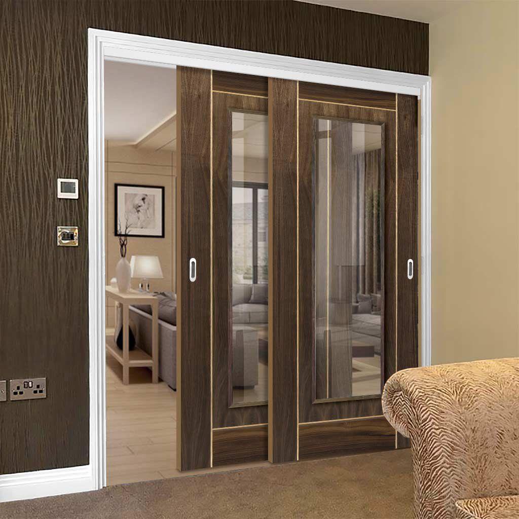 Thruslide Valcor Walnut 2 Sliding Doors And Frame Kit Oak Inlays Clear Glass Prefinished Lifest Internal Sliding Doors Sliding Doors Contemporary Decor