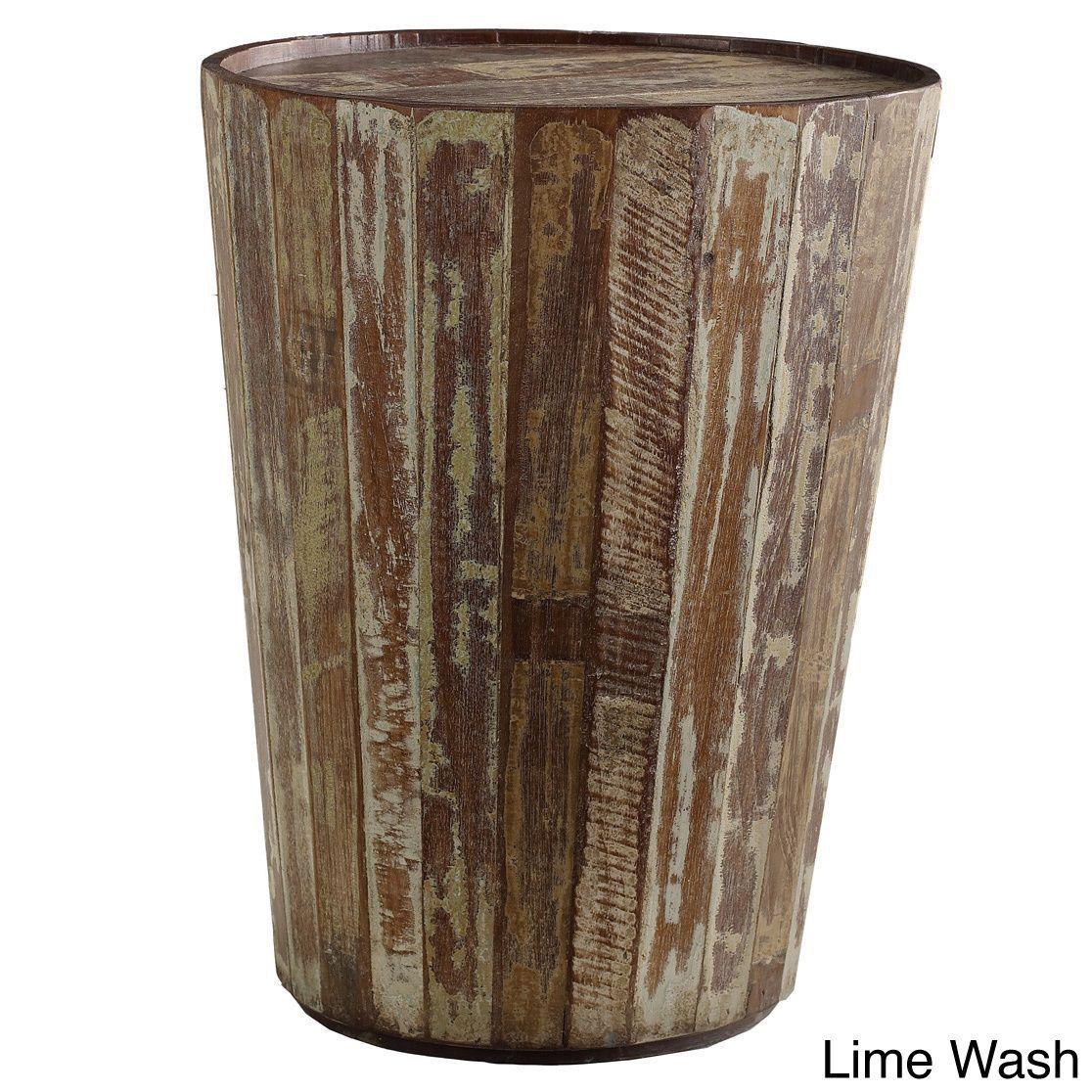 Kosas Home Hamshire Barrel Side Table (Hamshire Barrel Side Table  Lime Wash ),