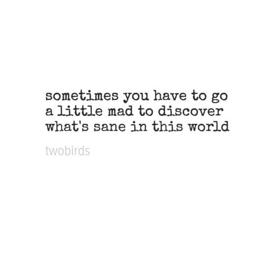Sometimes you have to go a little mad to discover whats sane in this world.
