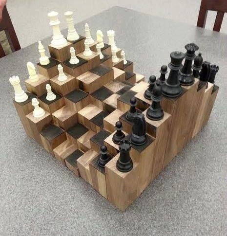 Nice A Multiple Level Chess Board. Made Of Walnut, Each Block Is At A Different  Height To Add A Fun And Artistic Factor To The Classic Game Of Chess.