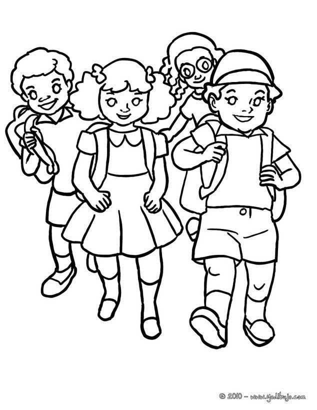 Dibujo para colorear : grupo de alumnos llegando a la escuela ...