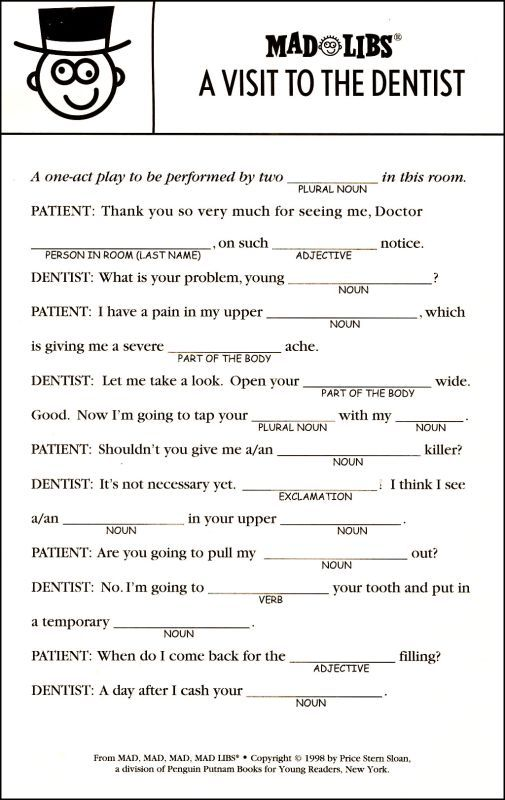 Insane image for printable funny mad libs