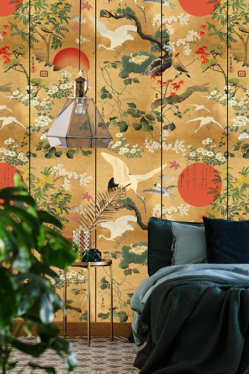 Japanese cranes designer wallpaper / wallcovering panel