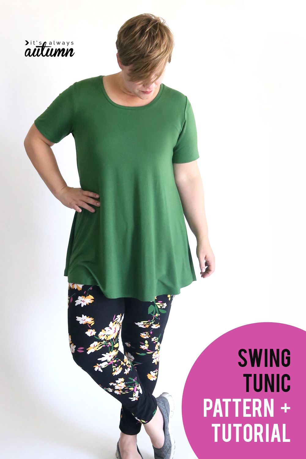 e7691e99 Sew up a cute swing tunic to wear with your favorite leggings this fall! Easy  sewing pattern and tutorial. #itsalwaysautumn #swingtunic #tunicpattern ...