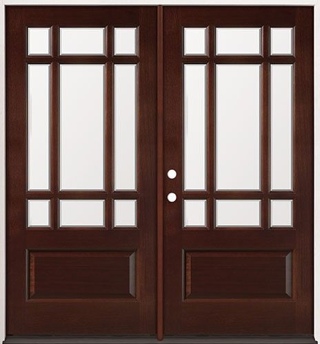 Craftsman Double Front Door 9-lite craftsman mahogany prehung double wood door unit #32
