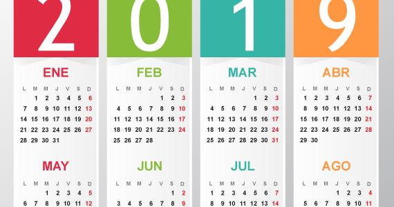 Calendario 2019 Illustrator.Calendario Elegante Del 2019 Vectorial En Espanol