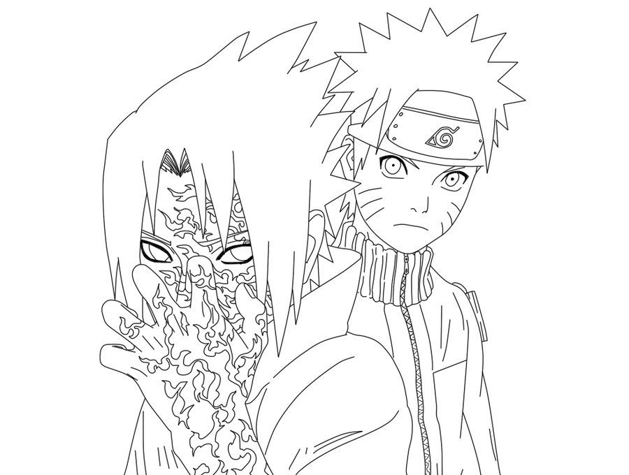 Naruto And Sasuke With Curse Mark Lineart By XRainingxColourX On