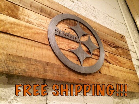 NFL Pittsburgh Steelers Man Cave Wall Art 18 Gauge Metal Cut Out Logo On  Reclaimed Pallet - NFL Pittsburgh Steelers Man Cave Wall Art 18 Gauge Metal Cut Out