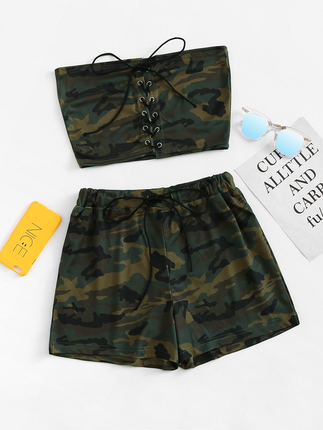 Lace Up Camo Tube Top With ShortsFor Women-romwe #tubetopoutfits