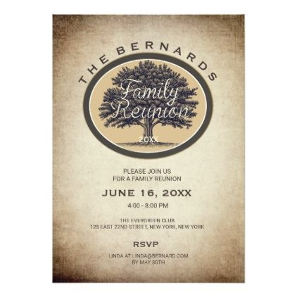 Vintage Oak Tree Elegant Family Reunion Invitation