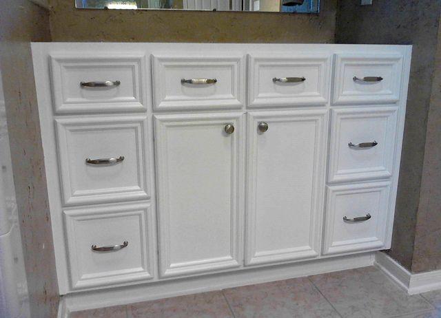 "Custom Bathroom Vanity Drawers 48"" custom bath vanity in pure white satin lacquer lip mould"