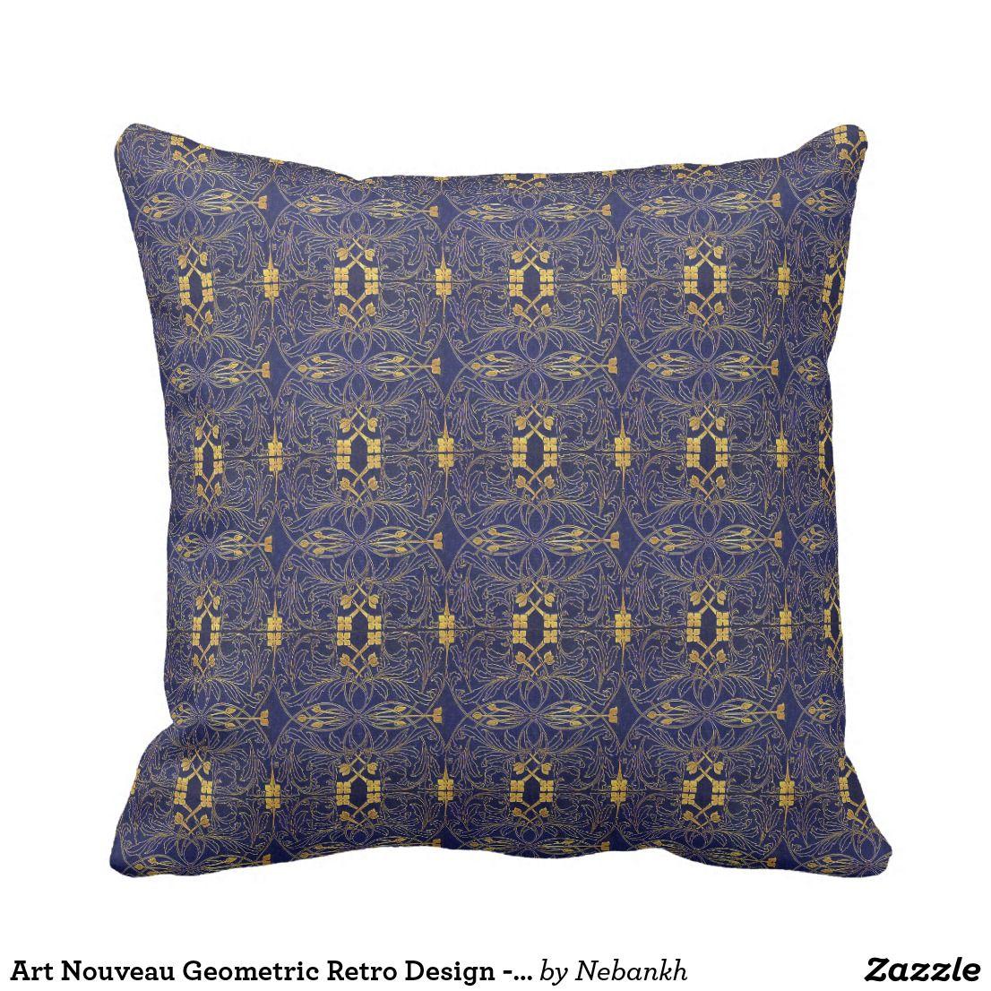 Art nouveau geometric retro design blue cushion my zazzle