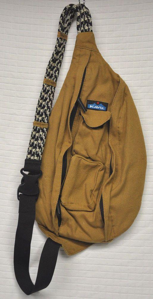 92a76988b9 KAVU Rope STRAP Sling BACKPACK Camel GOLDEN Brown SOLID Canvas BAG Clean   KAVU  BackpackStyle