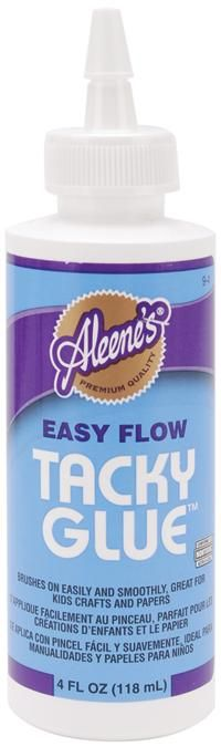 ALEENE'S-Easy Flow Tacky Glue in 4 ounces. This formula spreads easily and smoothly onto a surface. Dries with a clear, flexible and permanent bond. Great for household crafts and hobbies.