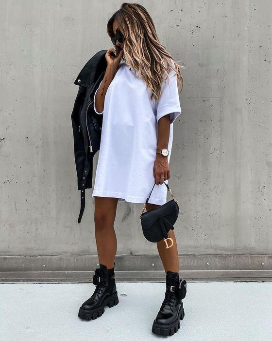 dress, t-shirt dress, ripped, grey dress, skirt, charcoal, dark grey dress, distressed dress, shoes - Wheretoget