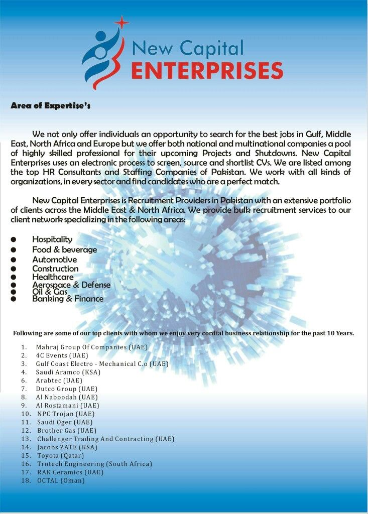 New Capital Enterprises #4, Area Of Expertise And Client List. #Jobs #  Areas Of Expertise List