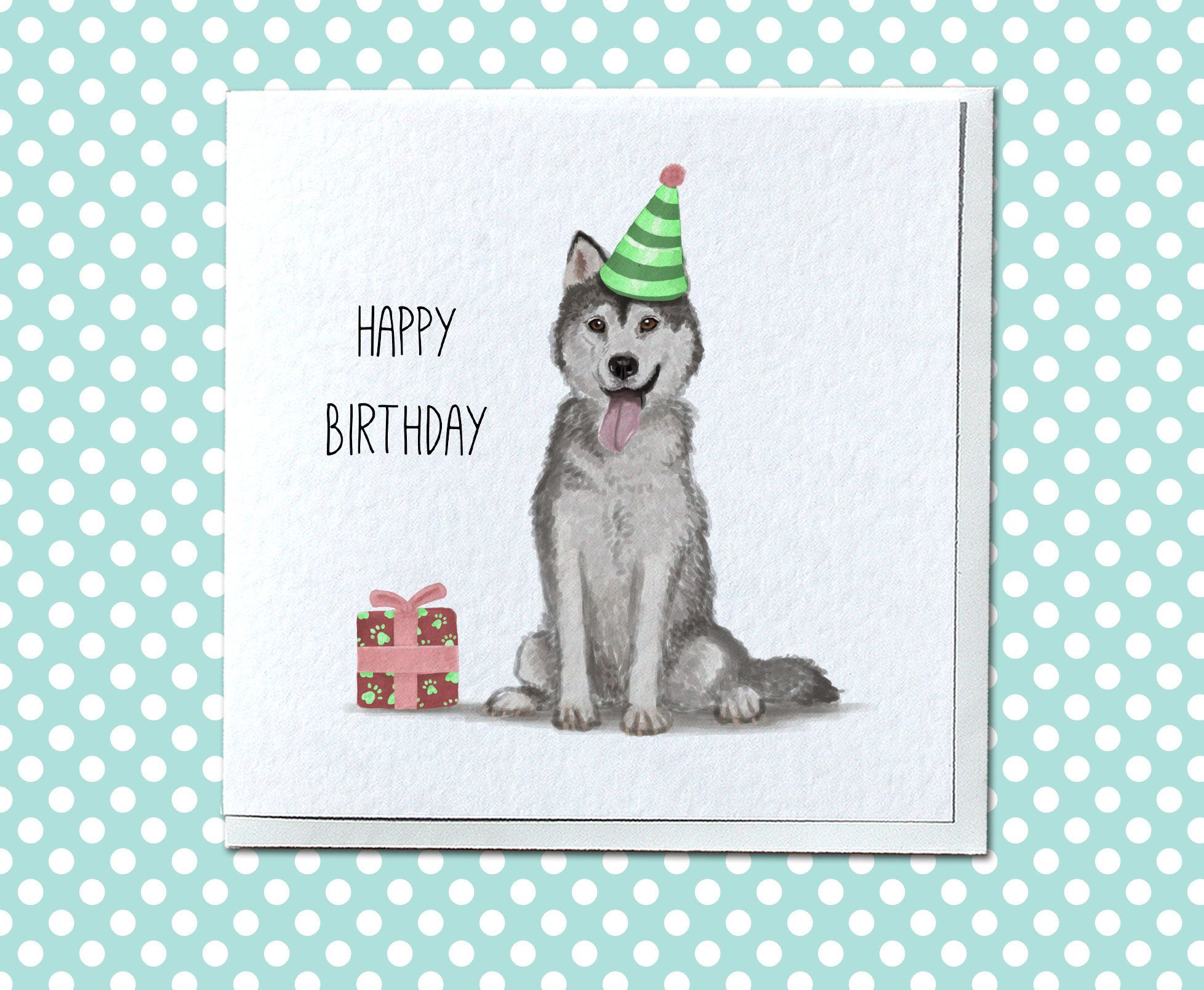 Personalised Husky Birthday Card Siberian Husky Card Dog Card