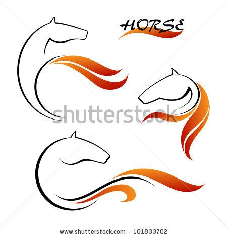 Horse symbol vector and red tongues of flame by VectorPic, via Shutterstock