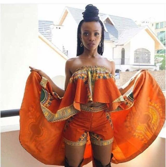 7632b8f3cd657 Ensemble top short | vêtements en wax | Mode africaine, Mode femme ...