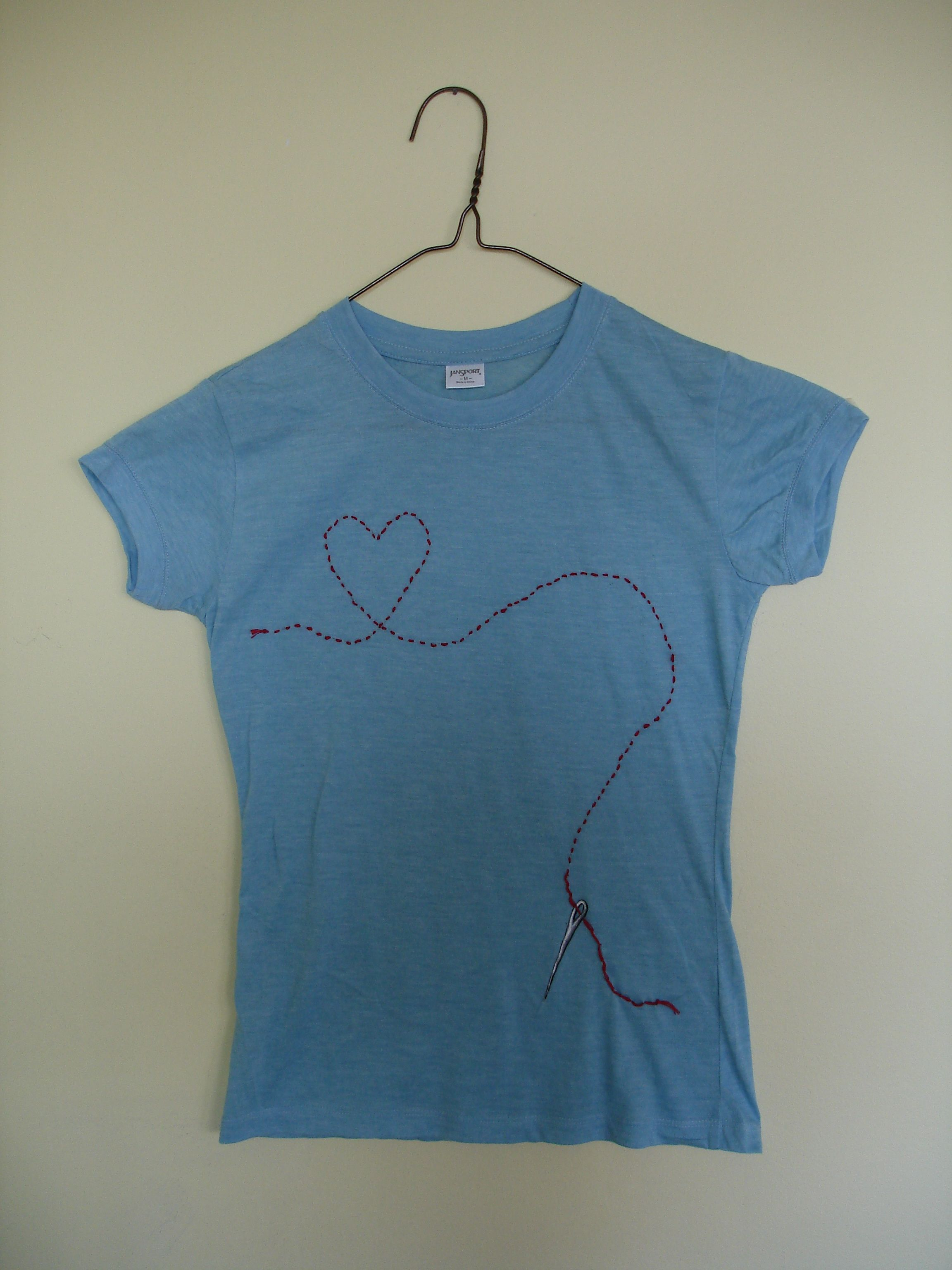 I Heart Sewing Tshirt by Kat Butler acrylic painted