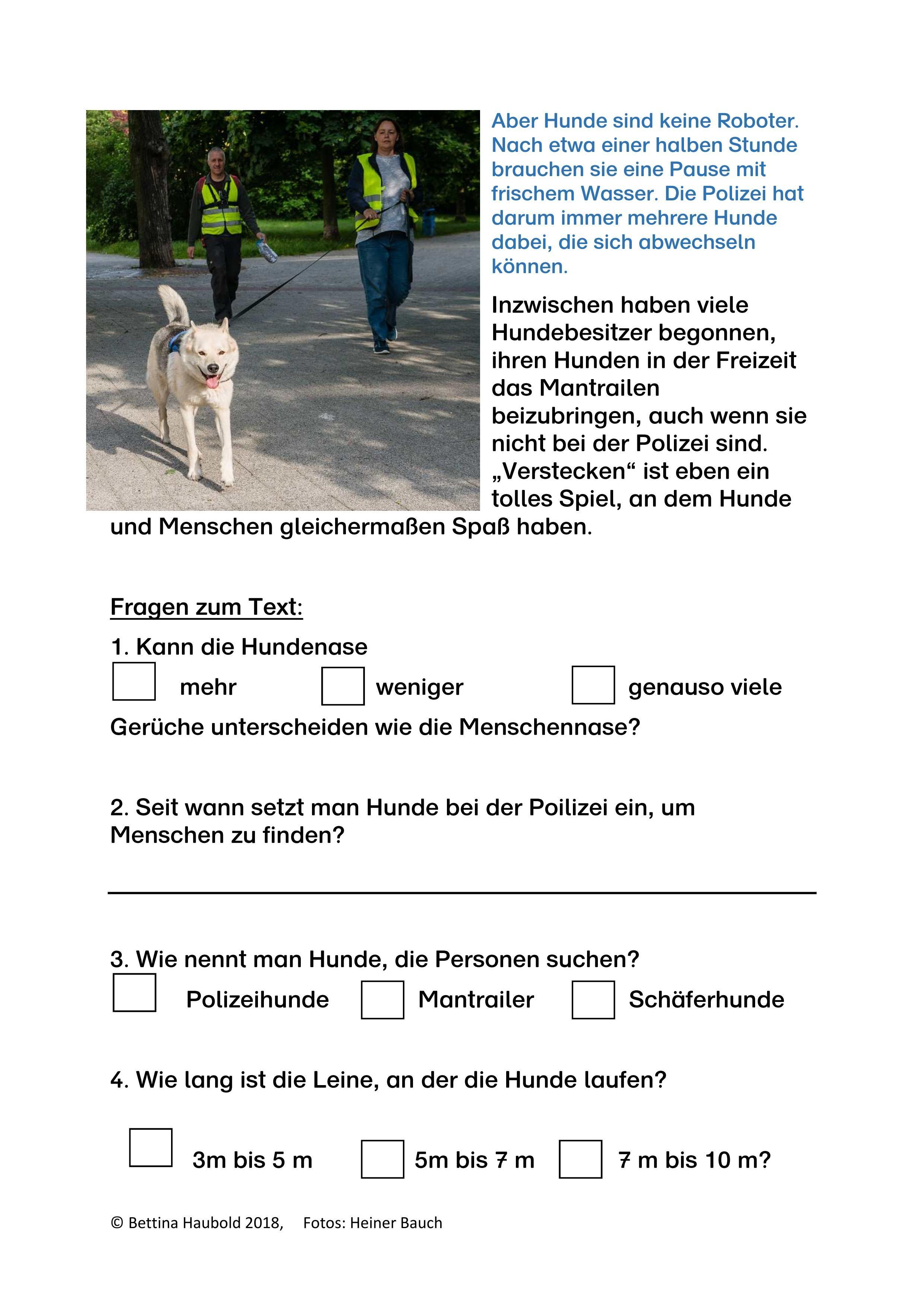 leistungsdifferenzierter Sachtext für Kinder Thema Hunde Mantrailer ...