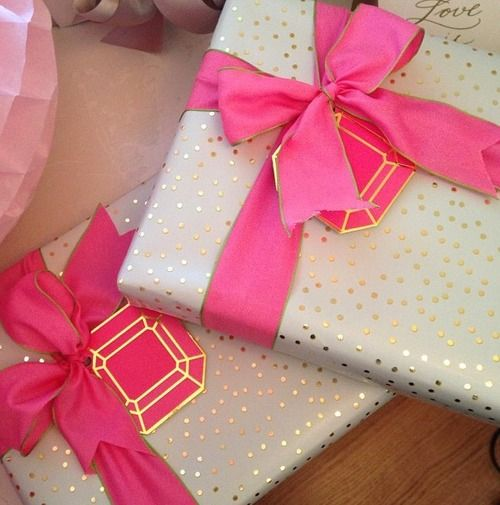 Wedding Gift Wrapping Ideas Images: Pink Ribbon With Gold Trim And White/gold Polka Dot