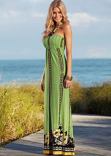 Halter Print Maxi Dress