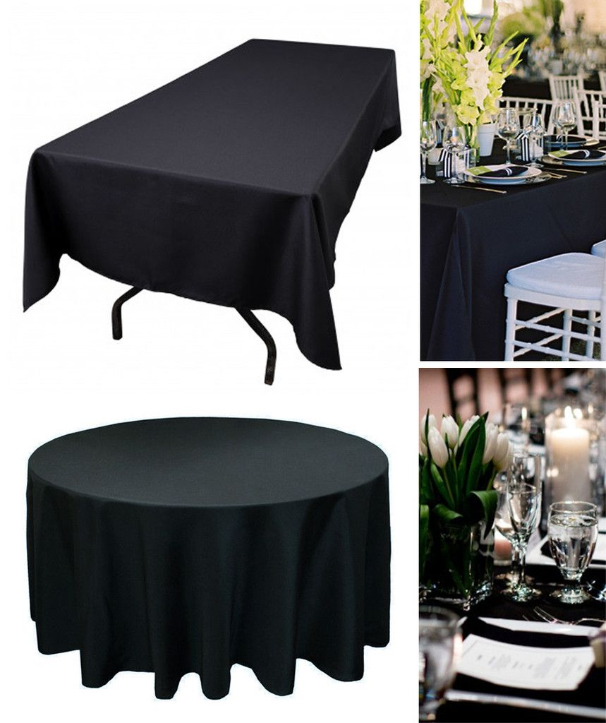 Black Tablecloth   Round Or Rectangular