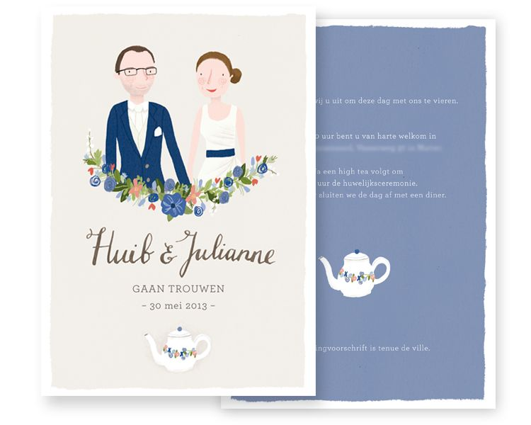 Custom made wedding cards by Marloes de Vries Lovely Wedding