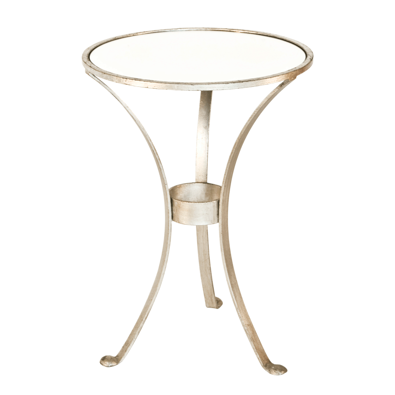 3 Leg Round Table In Silver Leaf With Antique