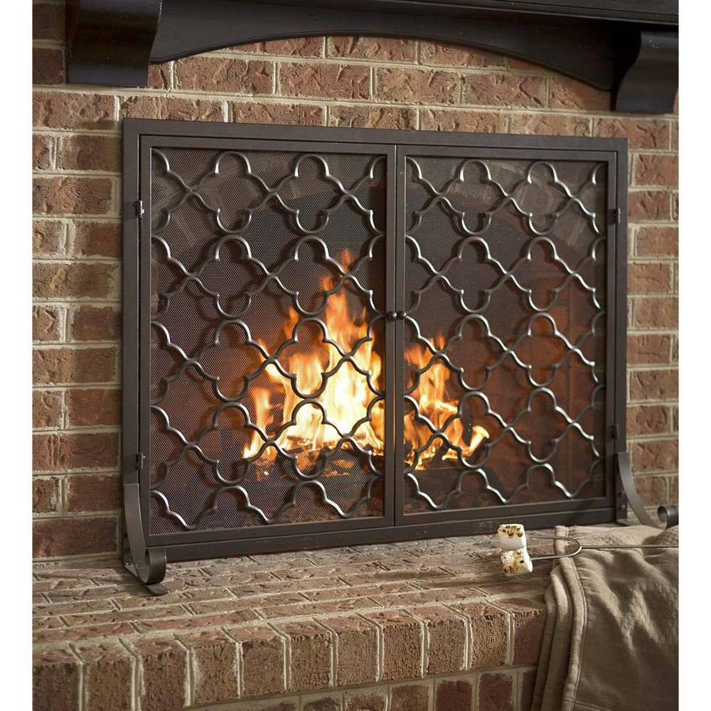 Small Geometric Fireplace Screen With Doors In Bronze Plow Hearth Brown