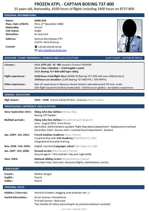 Airline Pilot Cv Design Resume Builder Cover Free Samples Examples