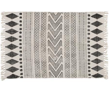 Handbedruckter Teppich Block im Ethno Style, SchwarzCreme
