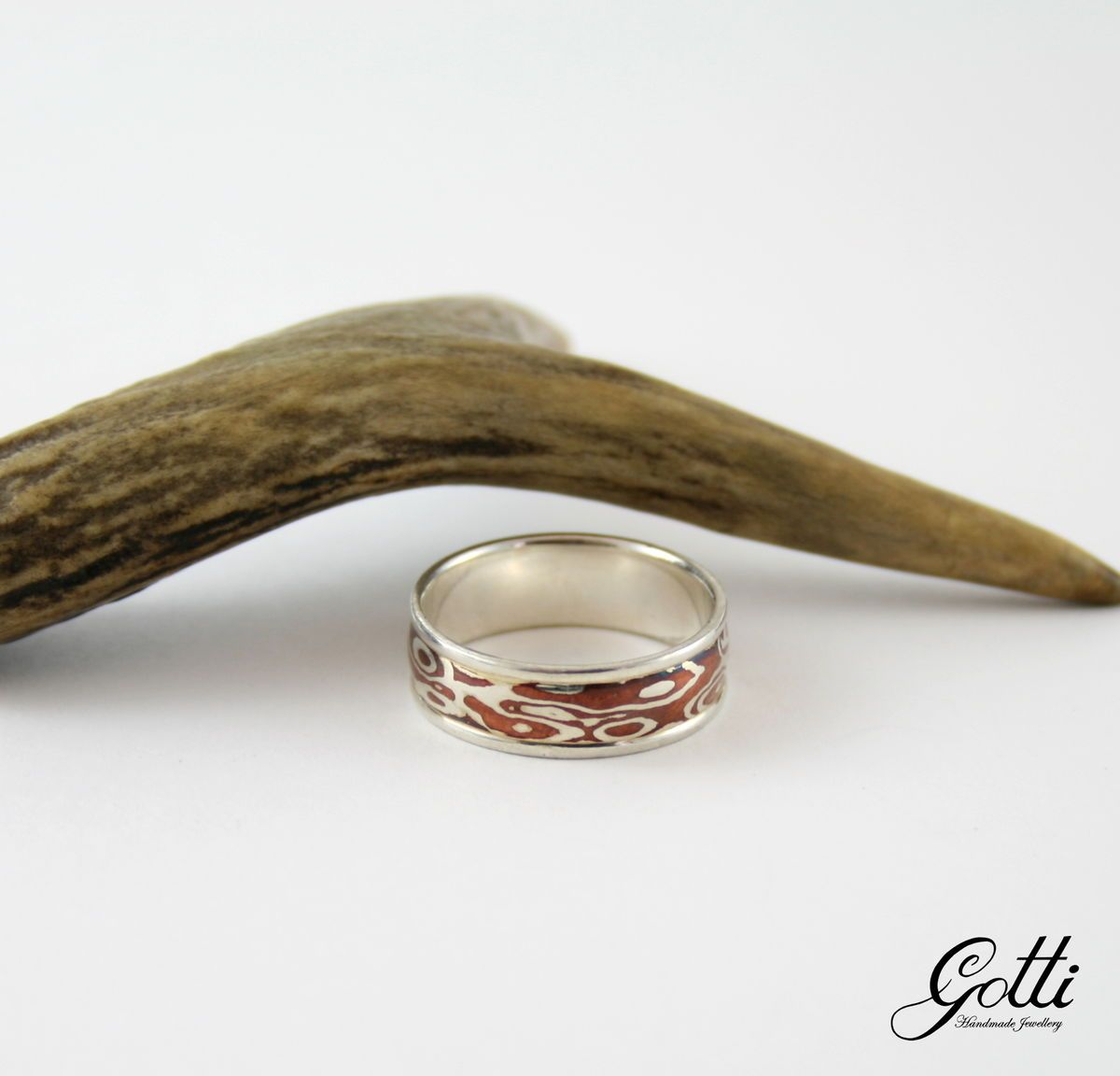 SILVER MOKUME GANE BAND RING product image SCHJ www