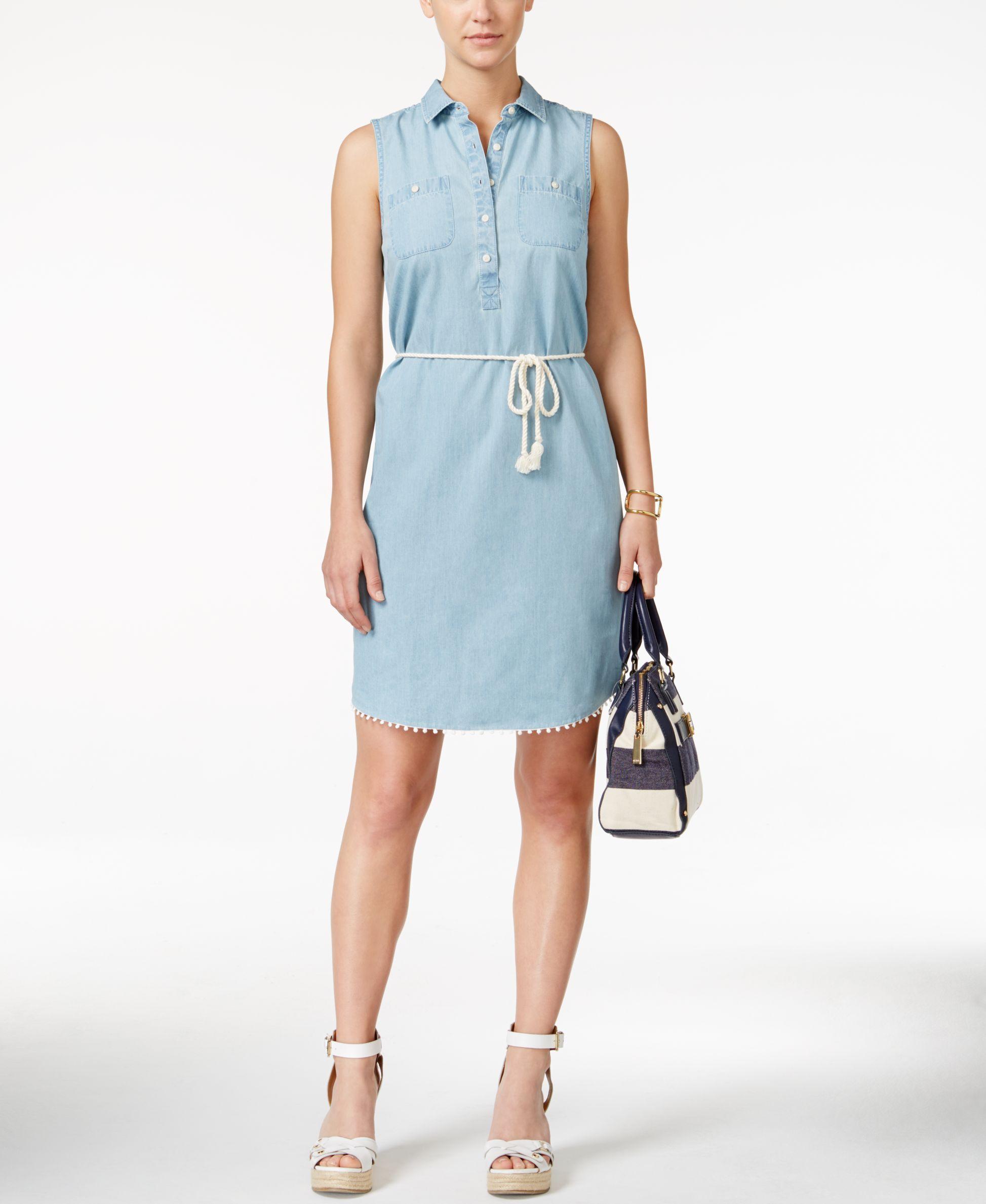 ded79b8788 Tommy Hilfiger Sleeveless Rope-Belt Denim Shirt Dress | Products ...