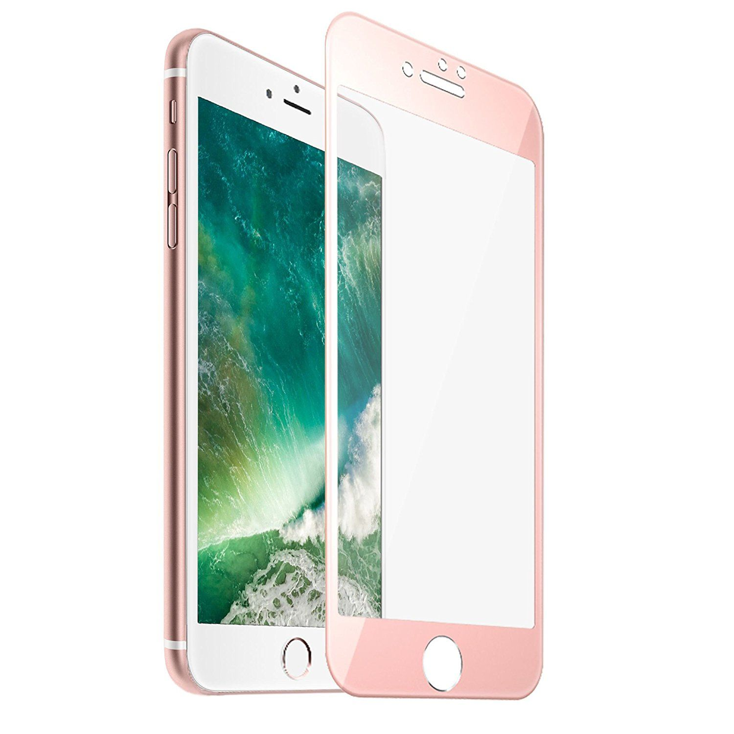 F color Rose Gold Apple iPhone 7 8 Screen Protector Tempered Glass with Rose Gold Alloy Metal Frame Full iPhone 8 7 Screen Cover HD Clear 3D Round Edge