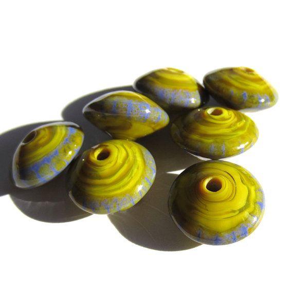 Handmade Lampwork Glass Beads pistachio green periwinkel blue enamel disks
