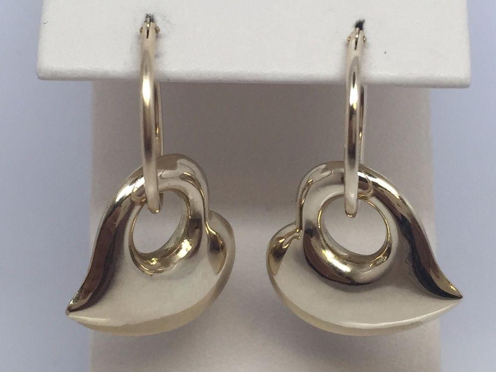 large 14k yellow gold puffed heart hoop earring charms hoop