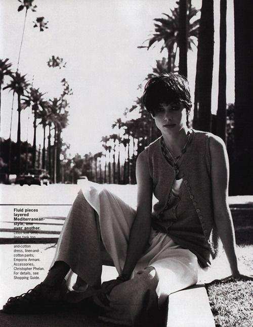 """Palmy Days"", Elle US, May 1994Photographer: Gilles Bensimon Model: Bridget Moynahan"