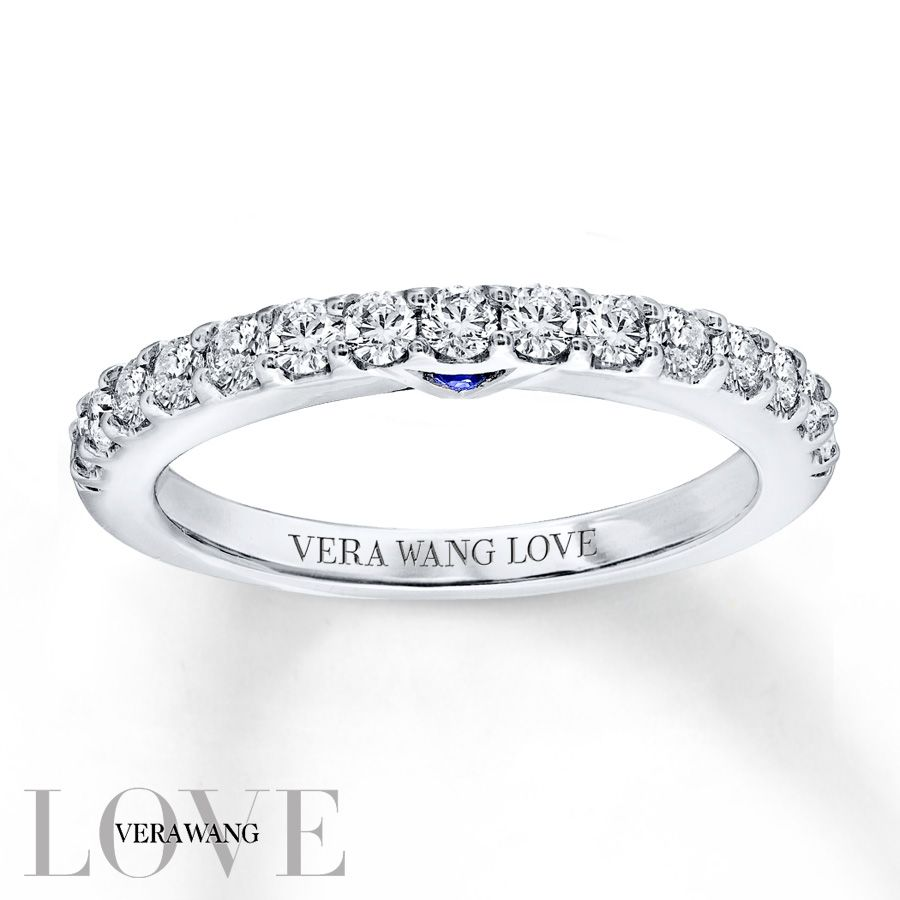 from the vera wang love collection this captivating wedding band features 1 2 carat total weight of shimmering round diamonds
